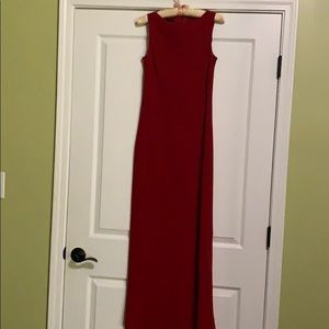 Long red crepe dress